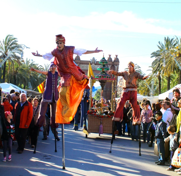 Barcelona-street-fair-stilt-walkers