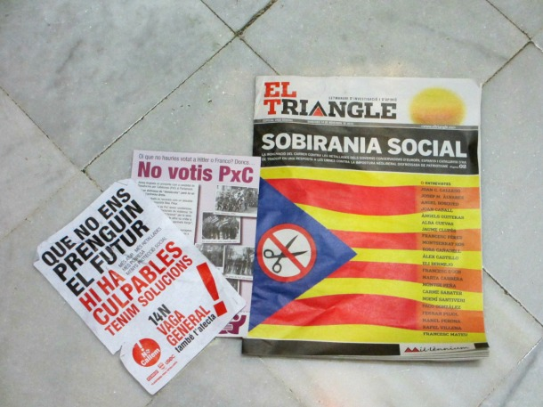 Spain-Barcelona-protests-2012-pamphlets